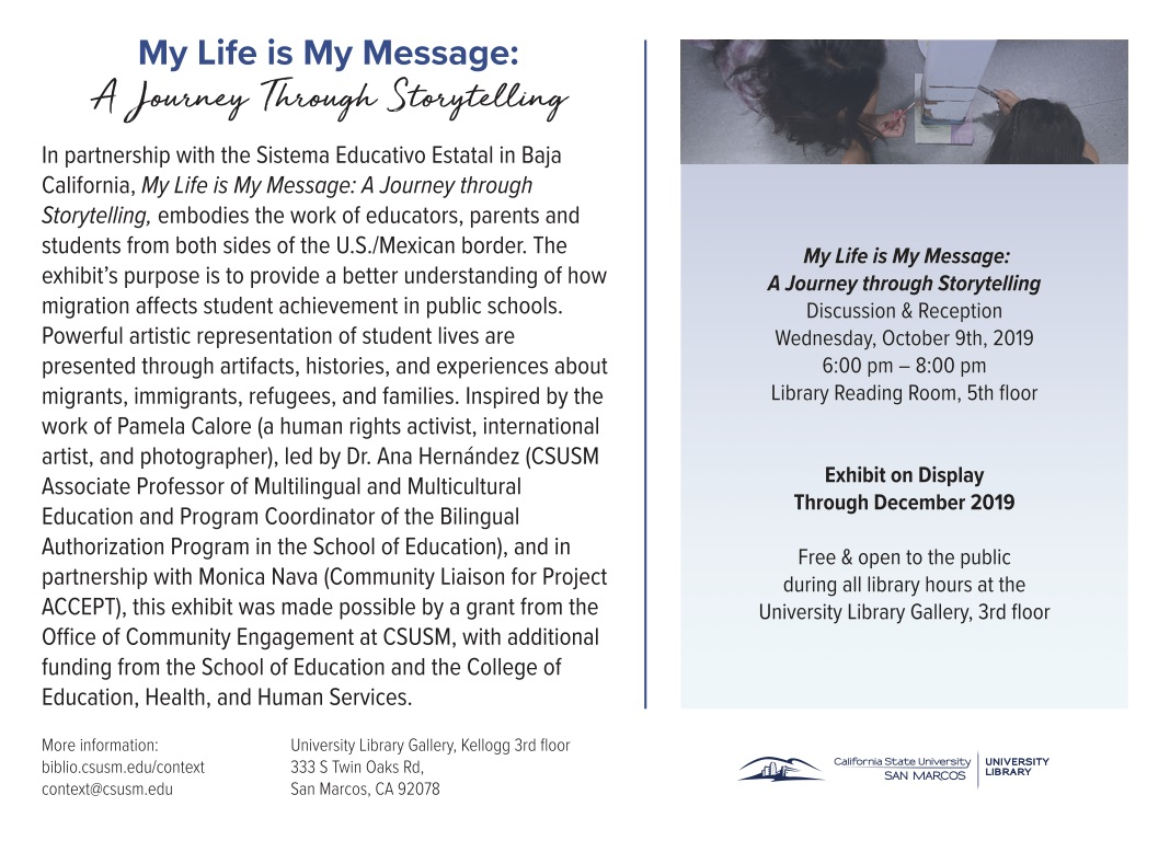 CSUSM Library Fall 2019 exhibit postcard Side 2 FINAL outlines