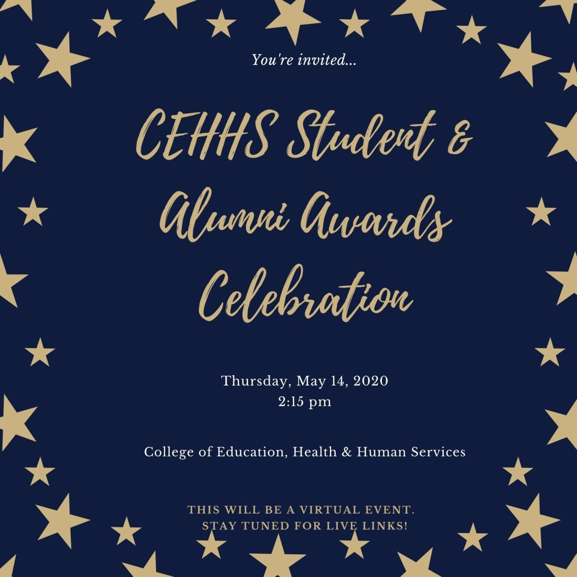 Blue and Gold Patterned Stars Awards Night Invitation (4)